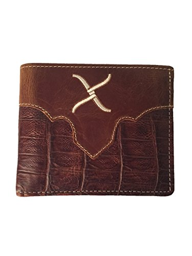 Twisted X Gator Leather Bi-fold Wallet with Embroidered Cream Twisted X Logo