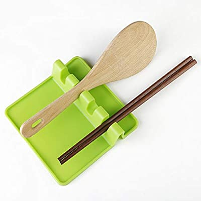 E-lishine Kitchen Silicone Utensil Rest with Drip Pad for Multiple Utensils at Once Green