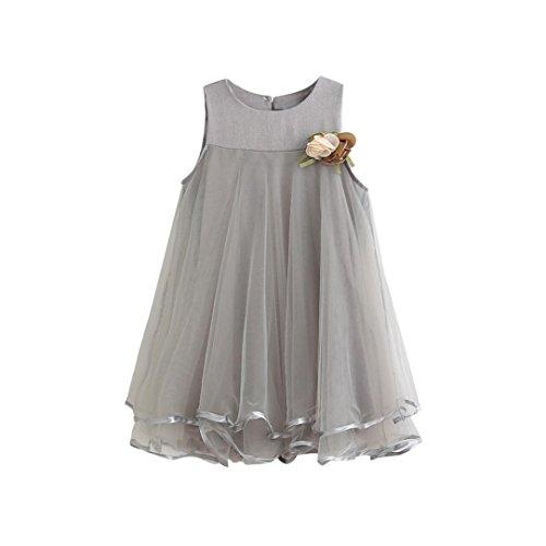 Clearance! Baby Girl Chiffon Dresses Sleeveless Drape Dress+Brooch Big skirt vest plus corsage princess dress (4T, (Girls Clearance Dresses)