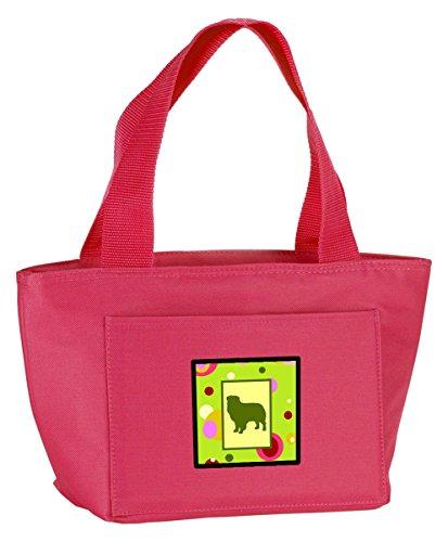 Caroline's Treasures CK1111PK-8808 Lime Green Dots Australian Shepherd Insulated Lunch Bag, Large, Multicolor