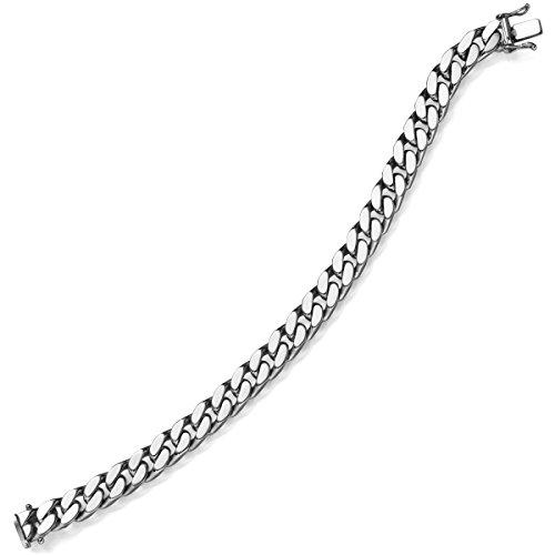 Emall supply lot de 8 mm de large bracelet gourmette en or véritable or blanc 585 mixte 21 cm