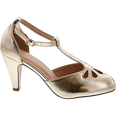 Chase & Chloe Kimmy-36 Women's Teardrop Cut Out T-Strap Mid Heel Dress Pumps,Light Gold,5.5