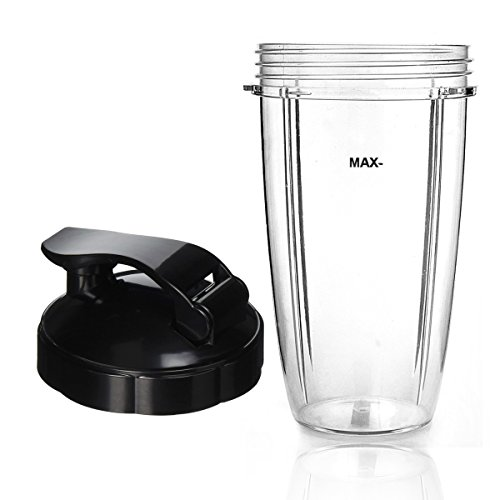 NutriBullet Compatible Cup and Flip Top Lid - Blender Replacement Accessory (Cups & Lid, 32 oz)