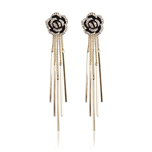 MISASHA Rhinestone gold plated pendant rose floral earrings (Chanel Inspired Earrings)