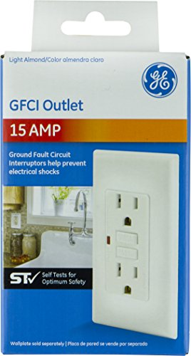 GE 32074 Self Test Outlet Almond