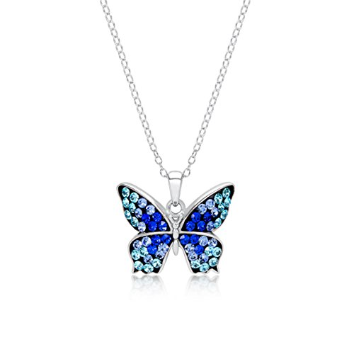 BLING BIJOUX Jewelry Sterling Silver Rhodium Plated Blue Shade Crystal Butterfly Pendant Necklace for Women & Girls