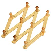 Accordion Wall Hanger 10 Hooks Pack of 2 Natural Wood Wall Mounted Expandable Accordion Peg Coat Rack Hanger 2 Pack