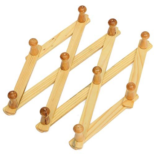 Accordion Wall Hanger 10 Hooks Pack of 2 Natural Wood Wall Mounted Expandable Accordion Peg Coat Rack Hanger 2 Pack (Rack Wood Wall Natural)