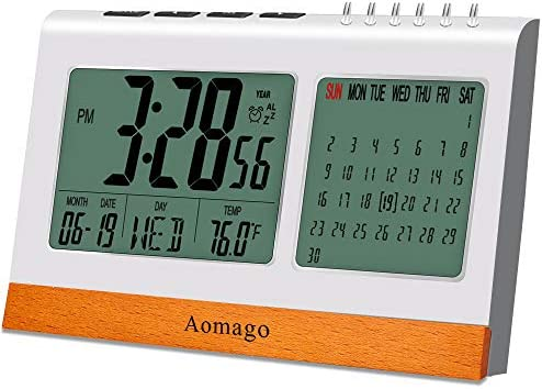 Digital Alarm Clock Battery Operated for Bedrooms, Aomago Desk Clock Office with Snooze, Calendar, Temperature Display
