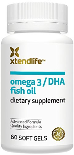 Omega 3 DHA Fish Oil by Xtendlife | Exclusive New Zealand Formula of 100% Pure, Natural Fish Oil with More DHA For Extra Strength (60 Soft Gels)