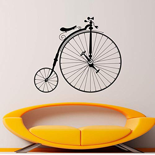 MRQXDP Antique Bicycle Decal Hipster Wall Vinyl Sticker Sport Bike Home Bedroom Decor Murals Retro Big Wheels Bicycle Decorations 48x42cm murales Wallpaper pared