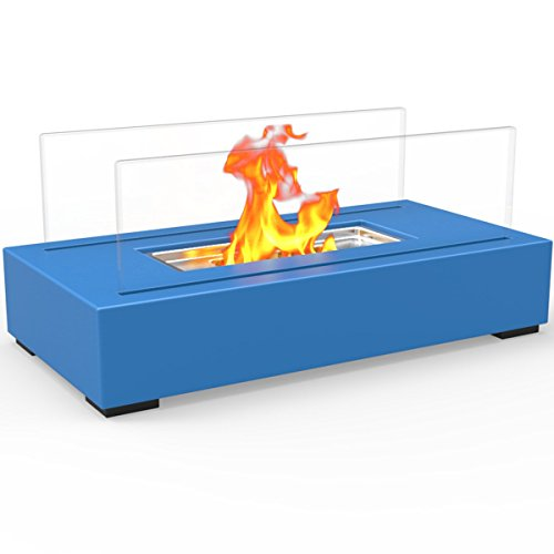 Regal Flame Utopia Ventless Indoor Outdoor Fire Pit Tabletop Portable Fire Bowl Pot Bio Ethanol Fireplace in Blue - Realistic Clean Burning like Gel Fireplaces, or Propane Firepits