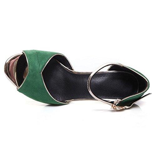 COOLCEPT Mujer Moda Al Tobillo Sandalias Peep Toe Tacon de Aguja Zapatos Verde
