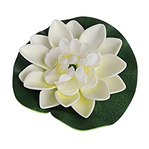 LANDUM Artificial Fake Floating Flowers Lotus Water Lily Plants Garden Tank Pond Decor (White) 34