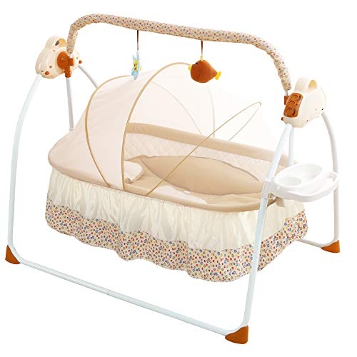 WBPINE Electric Baby Cradle Swing, Automatic Bassinet Swing Sleeper for Baby Boy and Girl with Music ()