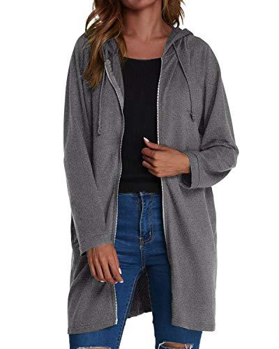 - kenoce Womens Long Zip Solid Color Coat Jacket Light Grey US10-12=L