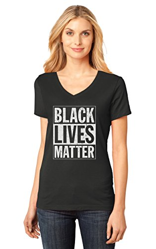 TeeStars Black Lives Matter - Freedom Civil Rights Justice V-Neck Women T-Shirt Small Black Freedom Womens V-neck T-shirt