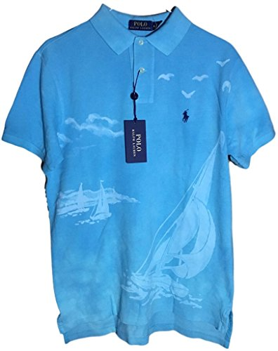 Polo Ralph Lauren Men Custom Fit Mesh Pony Logo Shirt (M, PrintTurquoise) by Polo Ralph Lauren