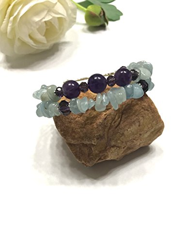 Natural Aquamarine and Amethyst Memory Wire Double Strand Bracelet. Easy Slip On and Off. Throat, and Crown Chakra Balance. (Aquamarine Bracelet Strand)