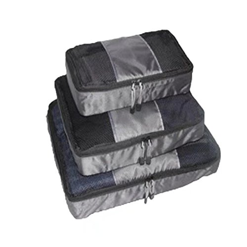 Garrelett 3 Pcs Set Packing Cubes, Portable Mesh Nylon Waterproof Handle Zipper Bags Totes Underwear Clothing Cosmetics Storage Pouch Organizer for Travel Luggage (Grey)