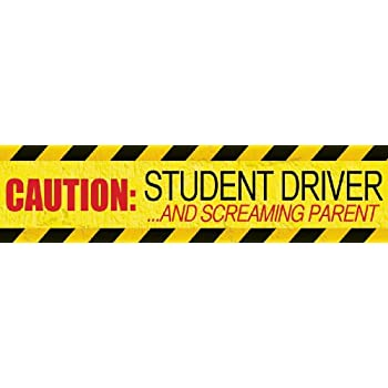 Magnacard magnetic bumper sticker caution student driver and screaming parent 12 x 3