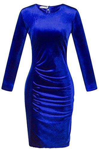 Aderenti Di Girocollo Vestiti Maniche Gioielli Donne Cruiize Blu Velluto A Delle Elegante Lunghe 81wqT