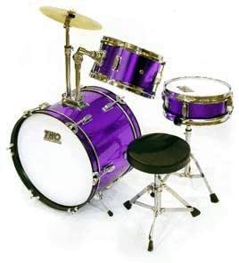 tko 3 piece children 39 s drum set with throne cymbal purple musical instruments. Black Bedroom Furniture Sets. Home Design Ideas