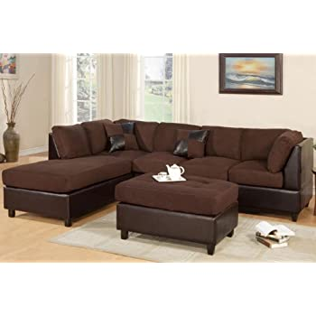 Merveilleux Poundex New Chocolate Microfiber Leatherette Sectional Sofa Reversible  Chaise With Ottoman   Chocolate Sectional