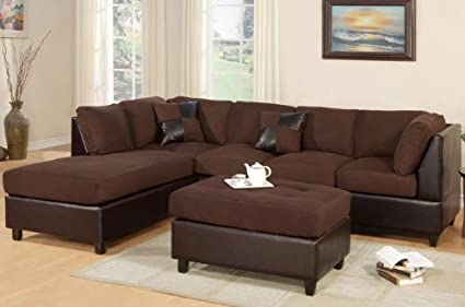 Amazon.com: Poundex New Chocolate Microfiber Leatherette Sectional ...