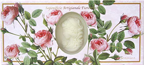 Saponificio Artigianale Fiorentino's Rose Garden Cameo 3 x 4.40 Oz. Soap Gift Set From Italy