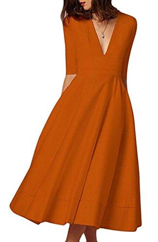 Party Midi Orange Dress Cocktail Womens Elegant Deep TinyChic Flare Neck Half V Formal Vintage Sleeve ZfFqzR4