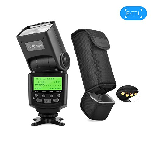 APEMAN E-TTL Speedlite Flash Speedlight for Canon, Supports E-TTL and M/MULTI/S1/S2 Flash Mode, LCD Display, Multi-functional Portable Package, Exclusive Design for Canon EOS DSLR Camera