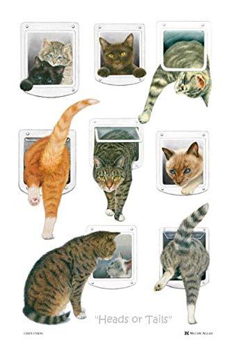 Samuel Lamont, 'Heads or Tails' Feline/Cat Kitchen/Tea Printed Towel, Imported, Linen-Cotton Blend