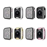 Tech Express 4 Pack Screen Protector Metallic Chrome Bumper Case for Apple Watch Series 4 [iWatch Cover] Black, Silver, Rose Gold, Gold 40mm, 44mm Rugged Skin Cover Shockproof Lot of 4 SP (44mm)