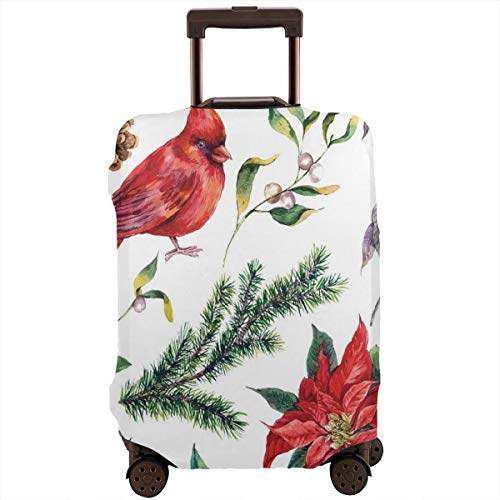 Travel Luggage Cover,Watercolor Christmas Flora And Fauna Pinecone Spruce Branch And Red Cardinal Bird Suitcase -