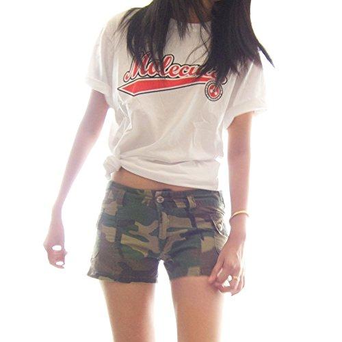 Molecule Women's Classic Congo Cargos - 100% Cotton Cute Mini Short Shorts | USA 6/M (Tag L) Euro Woodland Camo ()
