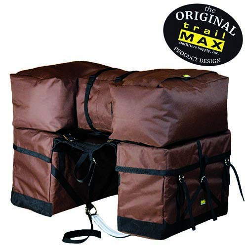 TrailMax Pack-A-Saddle Pack Pannier Bags, Fits Over Most Western Riding Saddles and All Decker and Sawbuck Pack Saddles, Easy to Use, with Detachable Panniers, for Hunting Camp, New Packers, Brown