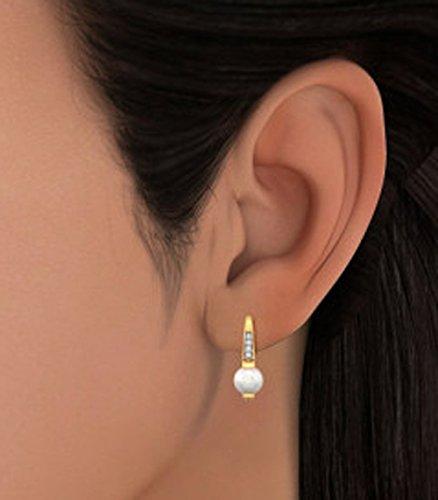 Or jaune 14K 0,06CT TW White-diamond (IJ | SI) et blanc perle Pendants d'oreilles