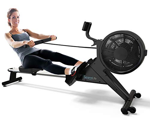 SereneLife Home Rowing Machine – Air and Magnetic Rowing Machine – Exercise Machine for Gym or Home Use – Measures Time, Distance, Stride, Calories Burned – Rowing Machine Cardio Workout for Fitness