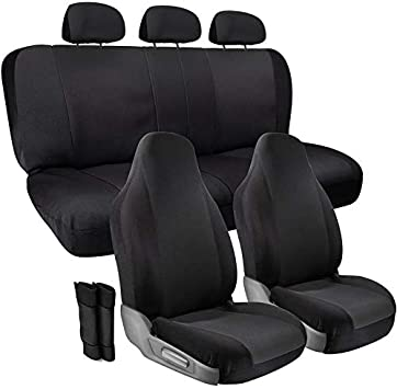 Beige// Black Zebra Car Seat Covers for Front /& Rear Bench fits SUV Van Trucks