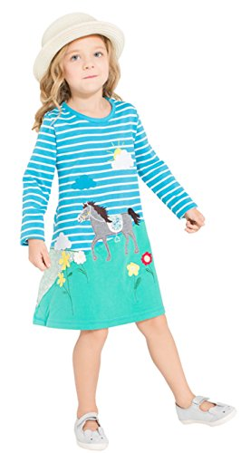 Cute 5 Year Old Halloween Costumes (2-7 Years Old Girls 100% Cotton Striped Long Sleeve Cute Cartoon Horse Dress (2T))