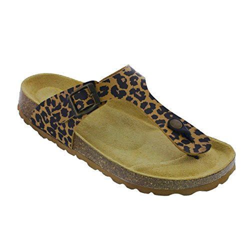 Sanosan Women's Geneve Thong Sandals in Leopard Print - Comfort Plus