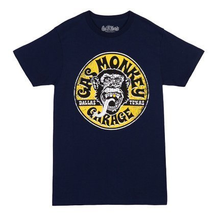 Gas Monkey Garage Equipped Gold Tooth Logo T-Shirt-Navy