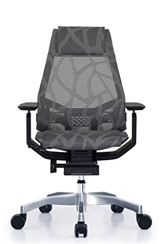 GM Seating Bodylux Smart Mesh Executive Hi Swivel Chair Chrome Base with Headrest (Black) (Grey Mesh)