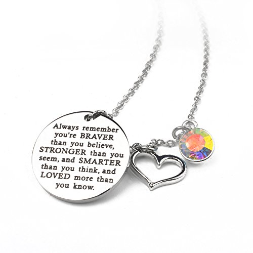 Zaoming You Are Braver Than You Believe Inspirational Necklace With Birthstone Graduation Gift Best Friend Encouragement Gifts Birthday Gift (06-June LightAmethyst)