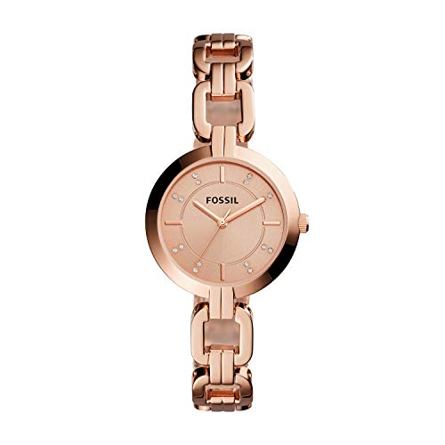 Fossil Women's Kerrigan Quartz Stainless Steel Dress Watch, Color: Rose Gold (Model: BQ3206)
