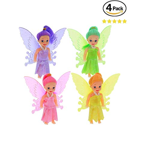 4 Fairy Dolls Butterfly Fairy Wing Fairy Unicorn Birthday Party Cake Topper Gift Kids Toddler Baby Girl Play (Style Varies) -
