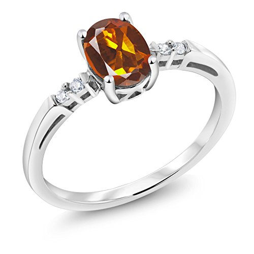- 14K White Gold 0.73 Ct Oval Orange Red Madeira Citrine White Diamond Ring (Size 5)