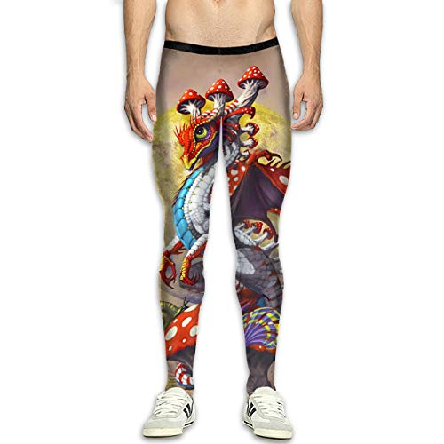 Red Mushroom Dragon Moon Mens Running Compression Tights Joggers Leggings Pants]()