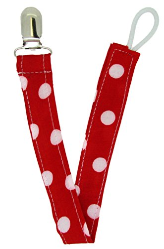 (Pacifier Clip Red Polka Dot)
